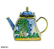 ENK741 Kelvin Chen Monet Poplars The Fitzwilliam museum, Cambridge, England Enamel Hinged Teapot