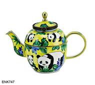 ENK747 Kelvin Chen Panda Bears Yellow Enamel Hinged Teapot