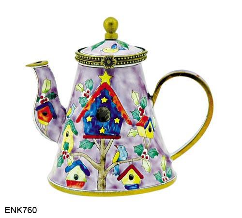ENK760 Kelvin Chen Christmas Birdhouse   Enamel Hinged Teapot