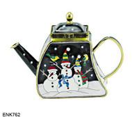 ENK762 Kelvin Chen Three Snowmen Enamel Hinged Teapot
