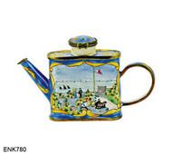 ENK780 Kelvin Chen Monet Garden At St. Adressee Enamel Hinged Teapot