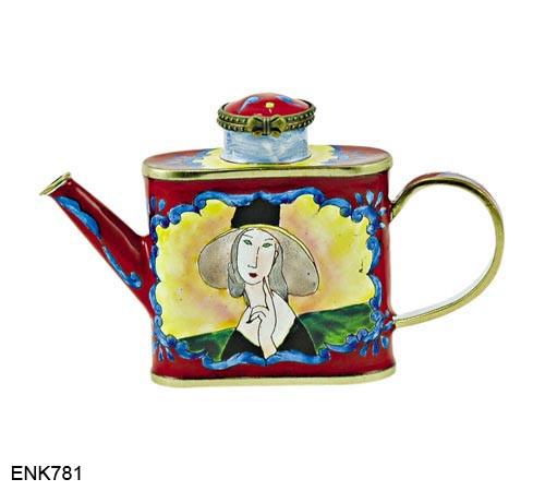 ENK781 Kelvin Chen Amadeo Modigliani Lady in Hat Enamel Hinged Teapot