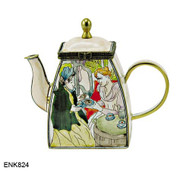 ENK824 Kelvin Chen Mary Cassat Tea Party Enamel Hinged Teapot