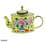 ENK825 Kelvin Chen Peony Flower Arrangement Enamel Hinged Teapot