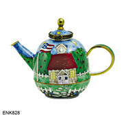 ENK828 Kelvin Chen School House Enamel Hinged Teapot