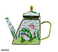 ENK829 Kelvin Chen Frog on Lilypad with Umbrella Enamel Hinged Teapot