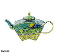 ENK836 Kelvin Chen Vincent Vincent Van Gogh Evening Landscape with Rising Moon Enamel Hinged Teapot