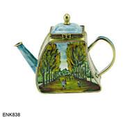 ENK838 Kelvin Chen Vincent Van Gogh Avenue of Trees Enamel Hinged Teapot