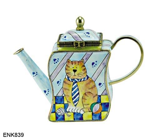 ENK839 Kelvin Chen Cat in Striped Tie Enamel Hinged Teapot