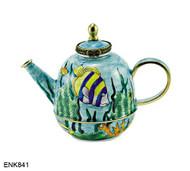 ENK841 Kelvin Chen Tropical Fish Teapot Enamel Hinged Teapot