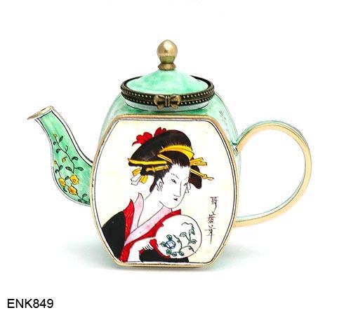 ENK849 Kelvin Chen Asian Lady Enamel Hinged Teapot