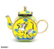 ENK851 Kelvin Chen Birds Yellow Enamel Hinged Teapot