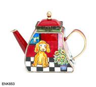 ENK853 Kelvin Chen Puppy at Home Enamel Hinged Teapot
