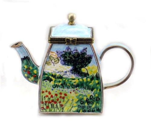 ENK863 Kelvin Chen Field of Flowers Enamel Hinged Teapot