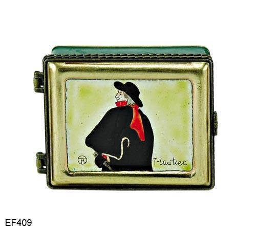 EF409 Kelvin Chen Henri de Toulouse-Lautrec Swordsman Master Painting Enamel Hinged Box