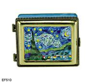 EF510 Kelvin Chen Vincent Van Gogh Stary Night Master Painting Enamel Hinged Box