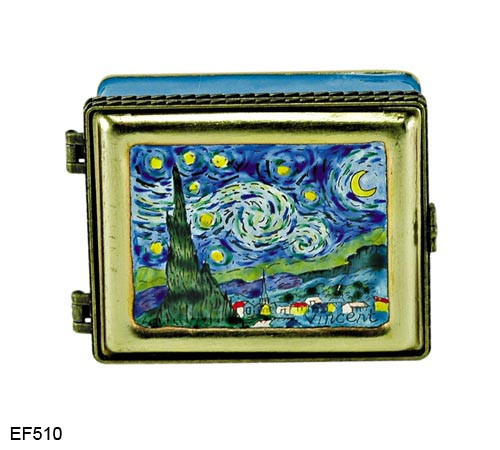 EF510 Kelvin Chen Vincent Van Gogh Stary Night Master Painting Enamel Hinged Box