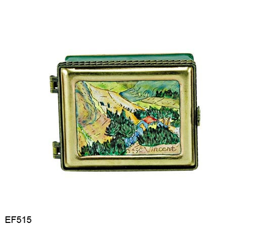 EF515 Kelvin Chen Vincent Van Gogh Church at Auvers Master Painting Enamel Hinged Box