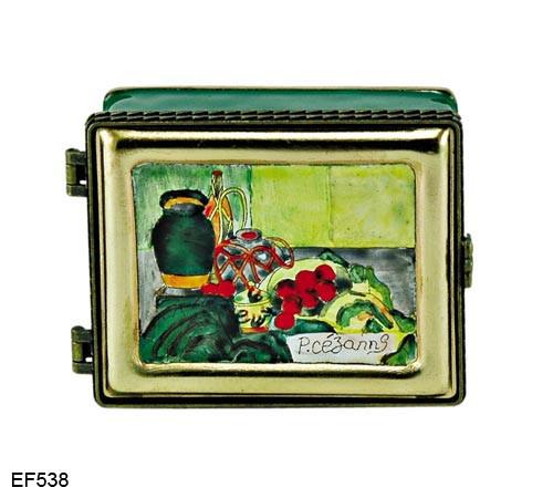 EF538 Kelvin Chen Paul Cezanne Dish of Peaches Master Painting Enamel Hinged Box