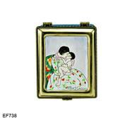 EF738 Kelvin Chen Mary Cassatt Mothers Kiss Master Painting Enamel Hinged Box
