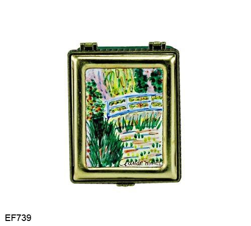 EF739 Kelvin Chen Monet The Waterlily Pond Master Painting Enamel Hinged Box