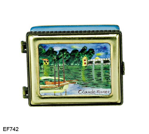 EF742 Kelvin Chen Monet River Master Painting Enamel Hinged Box