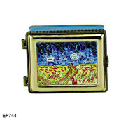 EF744 Kelvin Chen Vincent Van Gogh Crows over the Wheat Field Master Painting Enamel Hinged Box