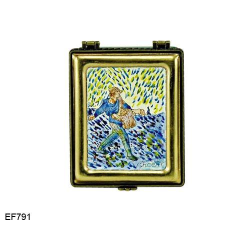 EF791 Kelvin Chen Vincent Van Gogh The Sower Master Painting Enamel Hinged Box