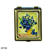 EF793 Kelvin Chen Vincent Van Gogh Vase with Iris Master Painting Enamel Hinged Box