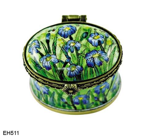 EH511 Kelvin Chen Vincent Van Gogh Iris Field Miniature Enamel Hinged Box