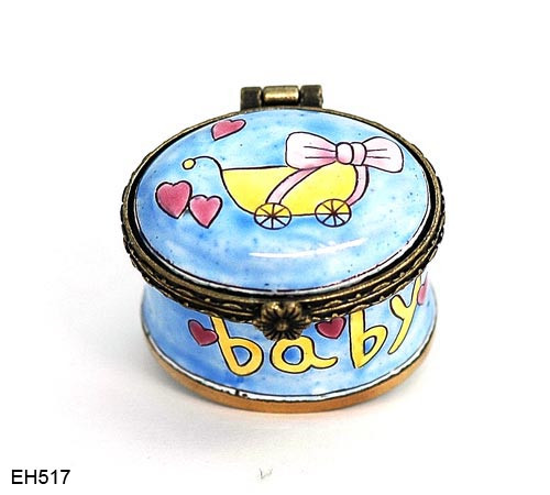 EH517 Kelvin Chen Baby Carriage Miniature Enamel Hinged Box