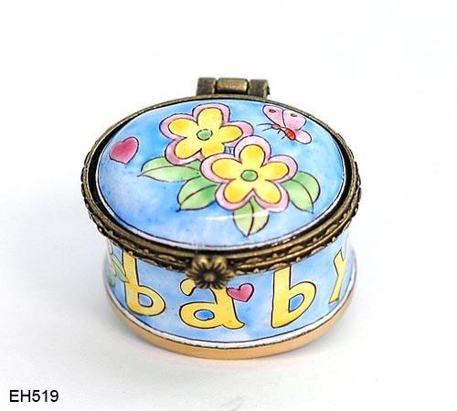 EH519 Kelvin Chen Baby Flower & Butterfly Miniature Enamel Hinged Box