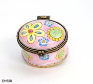 EH520 Kelvin Chen Pink Flowers Miniature Enamel Hinged Box