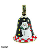 EN304B Kelvin Chen White Cat Bell Enamel Ornament