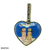 EN372H Kelvin Chen Two Cats Heart Enamel Ornament