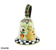 EN443B Kelvin Chen Cat and Flowerpot Bell Enamel Ornament