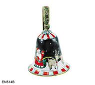EN514B Kelvin Chen Santa in Sleigh Bell Enamel Ornament