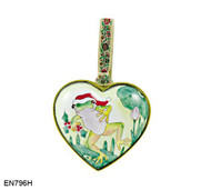 EN796H Kelvin Chen Frog in Hat Heart Enamel Ornament