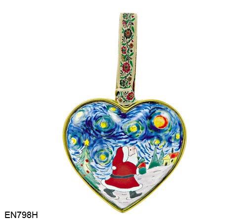 EN798H Kelvin Chen Blue Skies Santa Heart Enamel Ornament