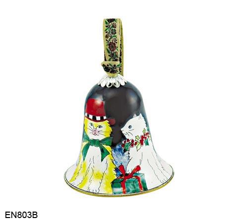 EN803B Kelvin Chen Cats Bell Enamel Ornament