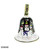 EN804B Kelvin Chen Snowmen Bell Enamel Ornament