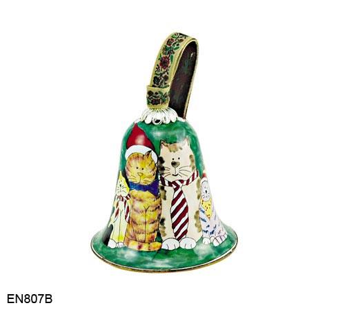 EN807B Kelvin Chen Cats in Ties Bell Enamel Ornament