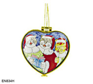 EN834H Kelvin Chen Singing Cats Hinged Heart Enamel Ornament