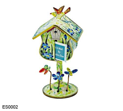 ES0002 Kelvin Chen Blue Flowers Birdhouse Stamp Box
