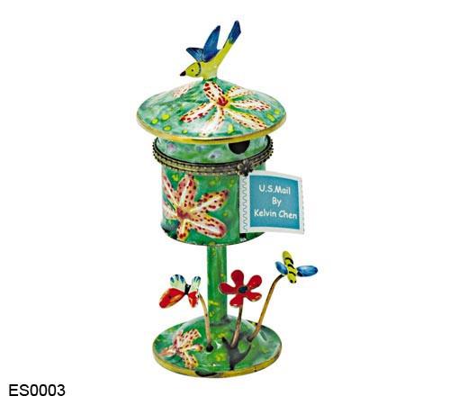 ES0003 Kelvin Chen Berry Lilies Birdhouse Hinged Stamp Box