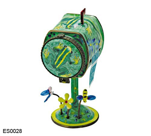 ES0028 Kelvin Chen Frog & Blue Flower Mailbox Hinged Stamp Box