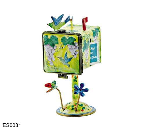 ES0031 Kelvin Chen Hummingbird Birdhouse Hinged Stamp Box