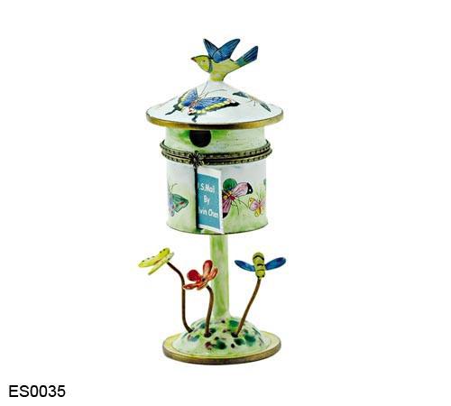 ES0035 Kelvin Chen Butterflies Birdhouse Hinged Stamp Box