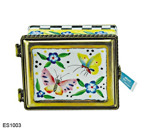 ES1003 Kelvin Chen Pink and Yellow Butterflies Stamp Box