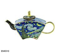 ENK510 Kelvin Chen Vincent Van Gogh Starry Night Enamel Hinged Teapot